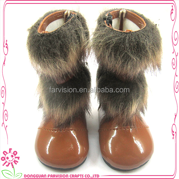 2014 New Wholesale Black Leather 18 inch Doll Boots fits for American Girl Dolls