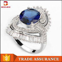 2015 European popular jewelry brilliant style 925 sterling silver aaa CZ aquamarine ring with attractive price