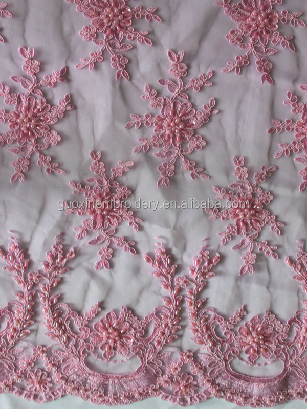 2015 Simple Cheap Wedding Lace Fabric With Beads