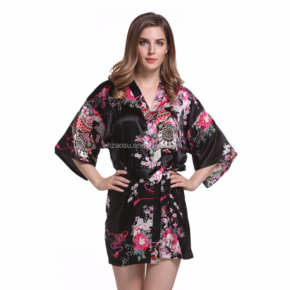 Satin Floral Night Dress Gown