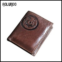 wholesale men brown vintage genuine leather coin wallet