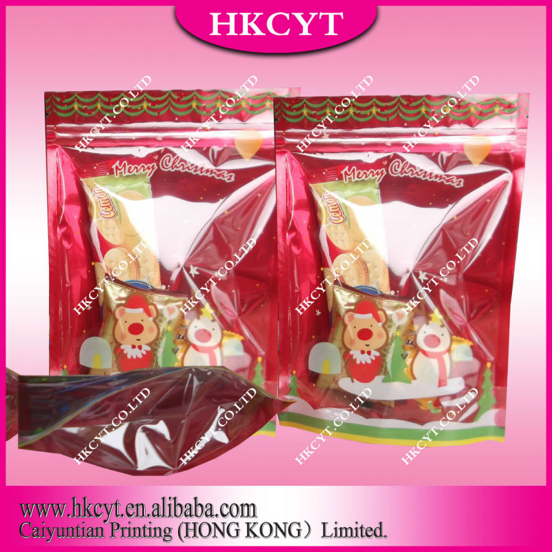 2013 Hot sell merry christmas food packaging bags for candy/zipper bags moisture barrier