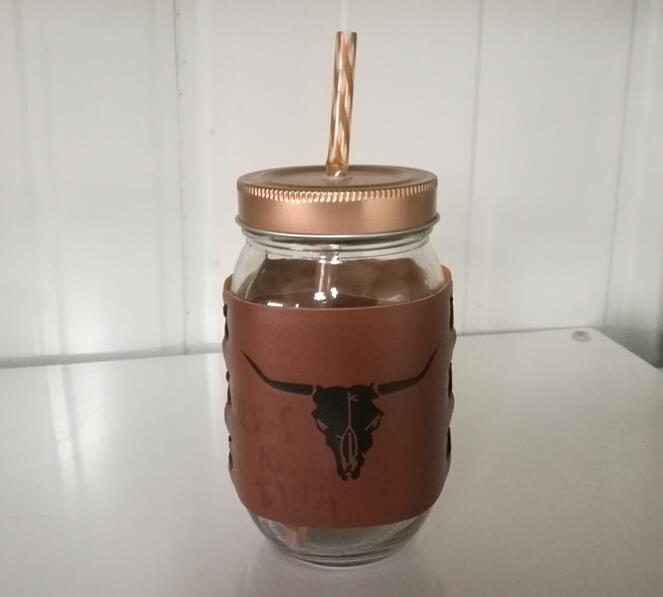 glass jar with Cowhide/wide mouth glass juice jar/ juicer bottles with straw