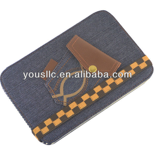 Blue Jeans Denim Folio Leather Tablet Case Cover Stand Magnetic Auto Sleep Wake for Samsung Galaxy Note 8.0 N5100