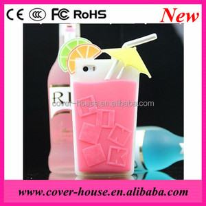 2014 Newest Summer design 3D Silicon Drinking Glass case for iPhone 5G/5S