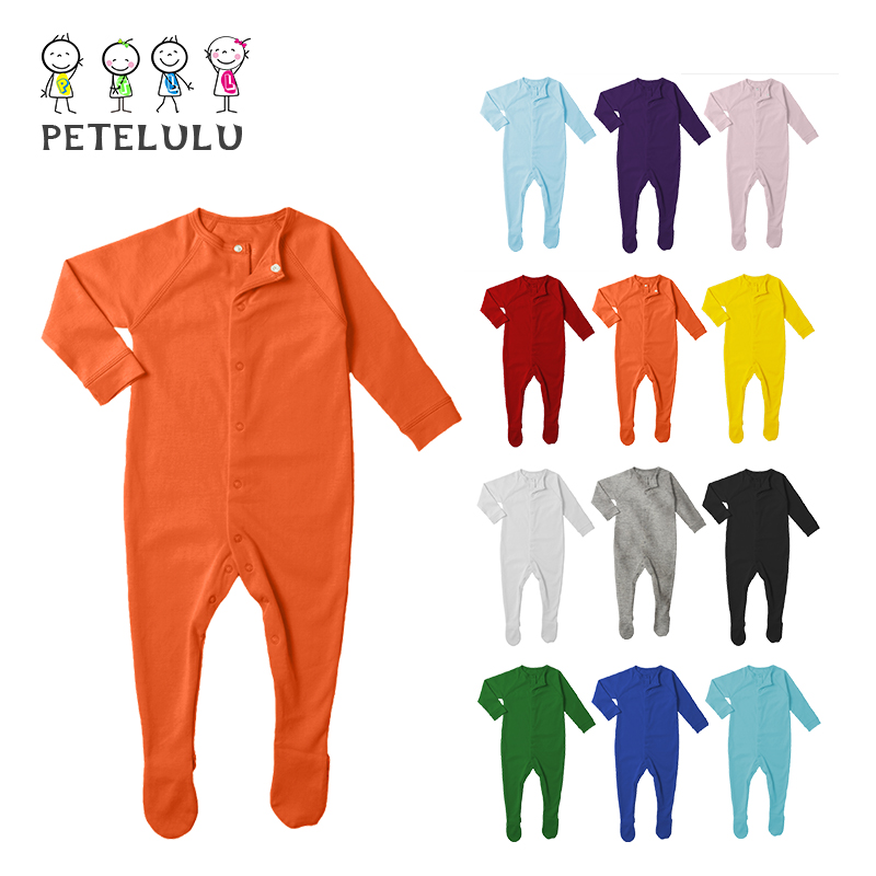 Cotton Jersey Fabric Blank Color Front Open Jumpsuit 2016 Baby Snap Crotch Bodysuit