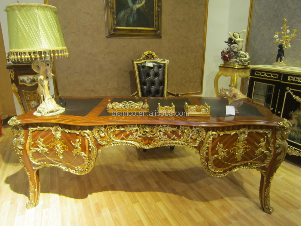 Luxury French Louis XV Style Office Desk/ Royal Palace Study Room Super Long Executive Desk/ Wooden Hand Carved Writing Desk