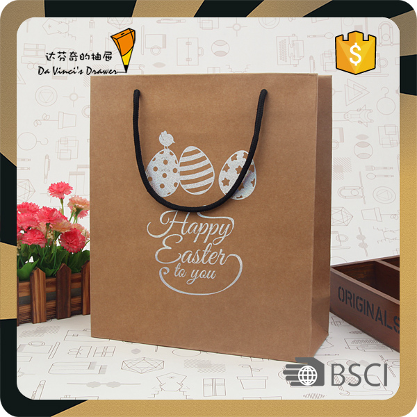 Promotional brown kraft gift paper carrier bag with logo print