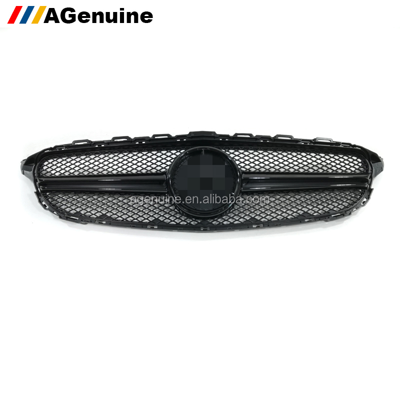 Custom colored glossy black AMG style car mesh grills radiator grill front bumper grille for Mercedes-Benz C class W205