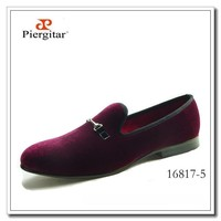 Fashion Men Velvet Shoes Burgundy Loafers Horse Bit Slippers
