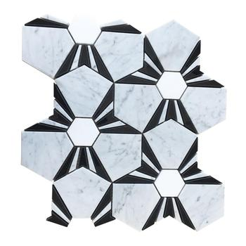 2017 hot sale bianco carrara water jet cut custom design marble mosaic backsplash tile