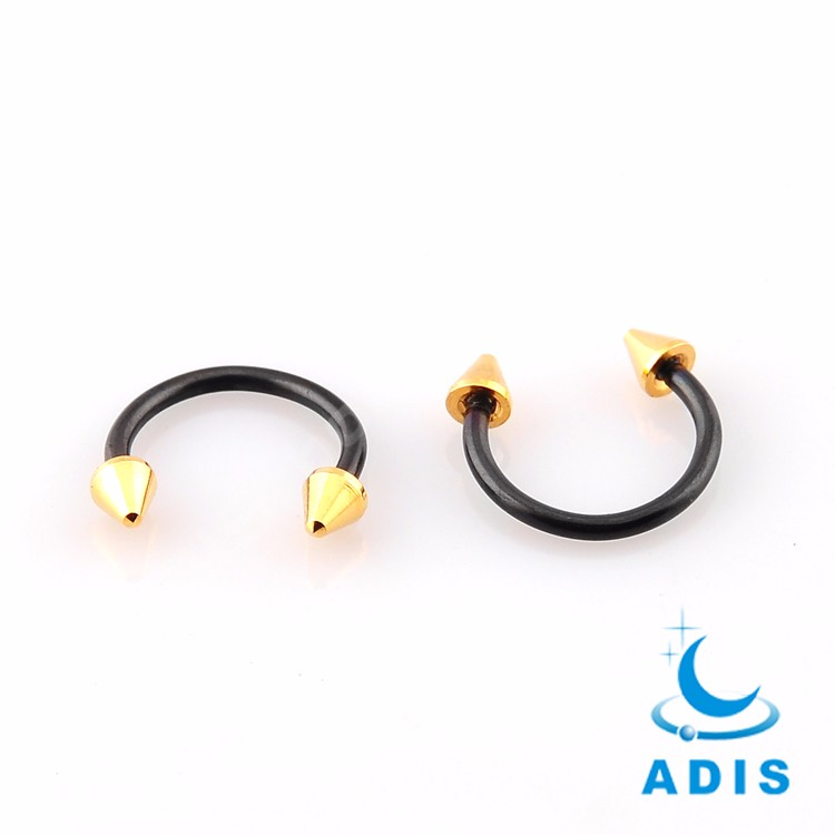 ASTM F136 Titanium Double Jeweled Balls Horseshoe Ring Circular Barbell body piercing jewelry