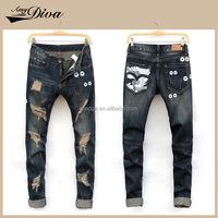 2016 New style fashion ripped skinny jeans pants high quality custom denim jeans trousers for men