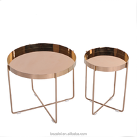 Rose gold round stainless steel round table small tea table sofa table telephone