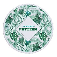 China wholesale hot sale florida funny adult palm leaves printed round beach towels mandala