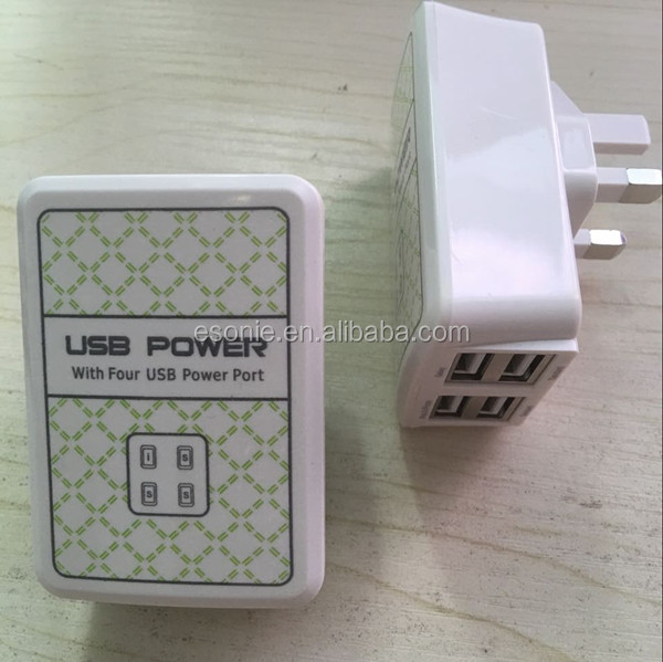 Four usb power port usb power adatper wall charger for iphone with UK US EU plug