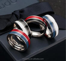 New Design Titanium Double Colors Rows Rotating Finger Band Ring