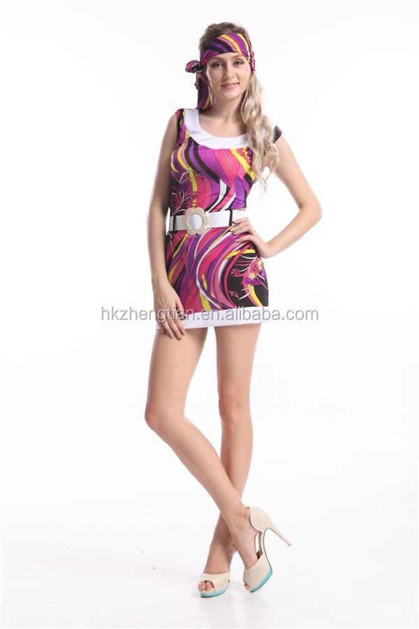 RETRO 60S 70S ROUND NECK FLORAL HIPPY HIPPIE FANCY DRESS COSTUME WITH BELT FOR WOMEN