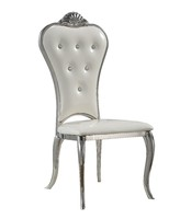 Iron European Dining Chair White Leather Dinner Metal Chair