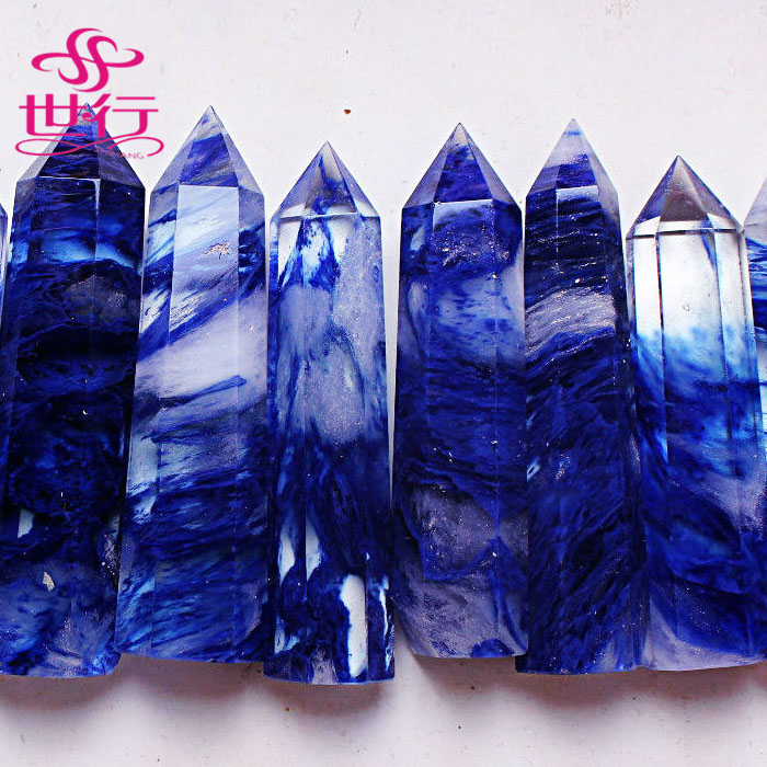 wholesale beautiful blue melting crystal healing wand <strong>point</strong> of sale display