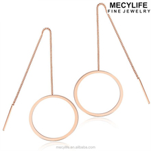 MECYLIFE Fashion Tassel Earrings Rose Gold Stainless Steel Hoop Earrings