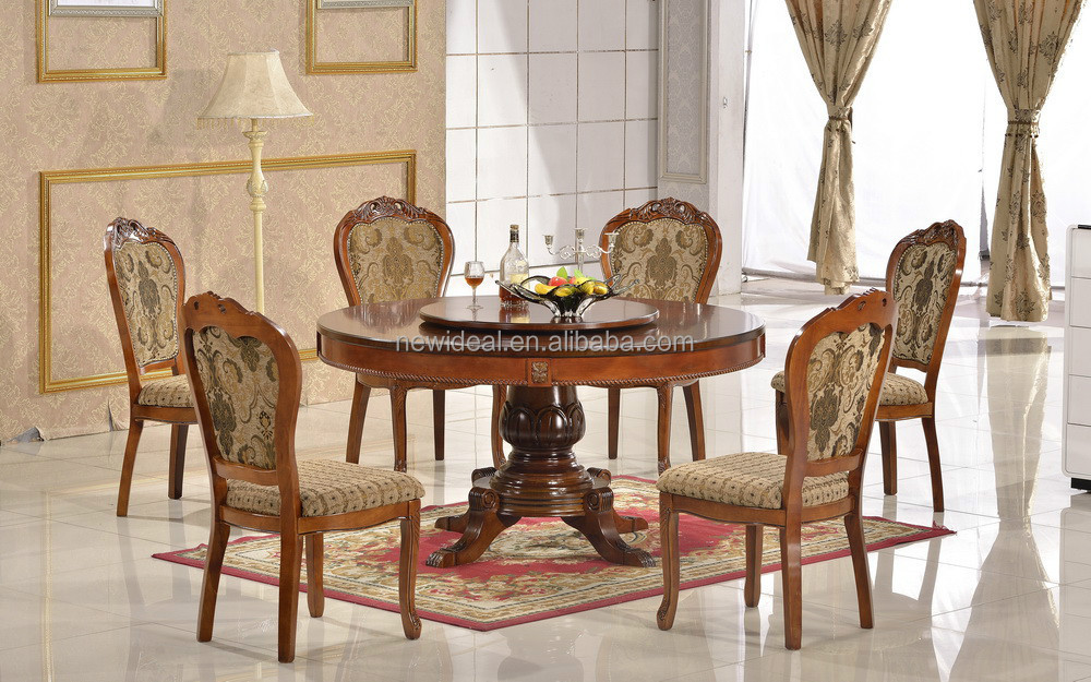 Hot sale hand carved Solid rubber wood brown round dining table (NG2636)