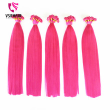 Popular pink extensions pre bonded flat tip hair