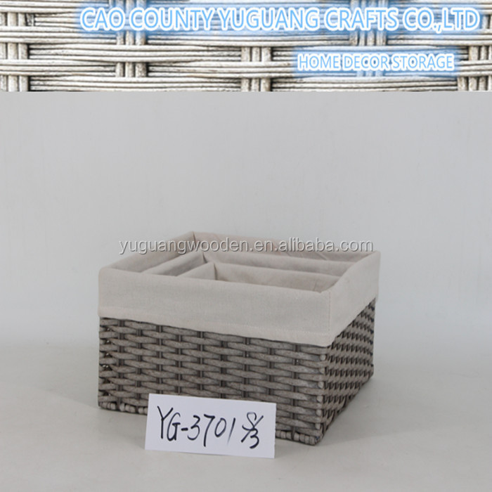 set 3 home-organization polywicker baskets with liner