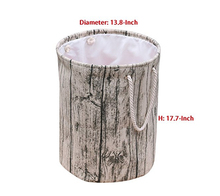 Decorative and Convenient Stylish Tree Stump Shape Design Cotton Fabric Washable Cylindric Laundry Hamper with Rope Handles