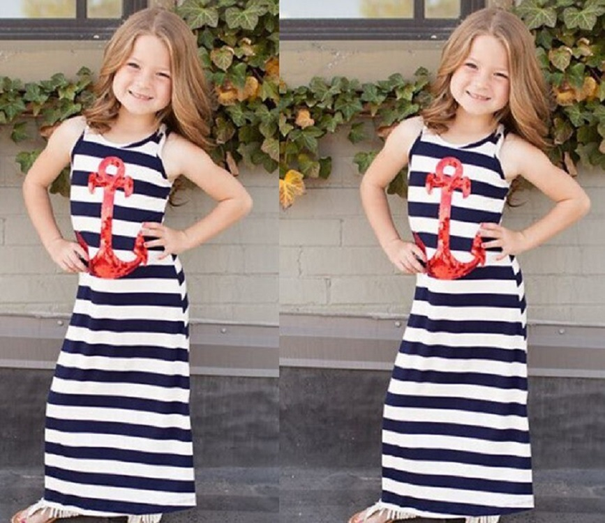 Shortsleeve Stripe Paillette Girls Kids Fashion Dresses Pictures