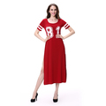 Short Sleeve Round Neck Teenagers Young Women Sport Style Street Casual Sides Split Dress
