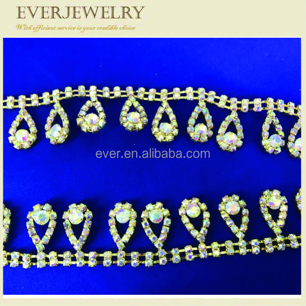 Wholesale sewing accessories trimming diamond and rhinestone cup chain for decorations