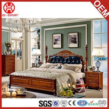 luxury antique bedroom furniture set double bed for sale