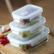 heat resistant high borosilicat Glass Food Storage Containers With Locking Lids Rectangular Hot Sale