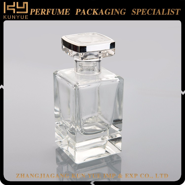 Hot selling good quality 55ml clear french square glass bottle