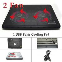 Blue Cooling Pad with 2 Fan 1 usb port Laptop Cooling Pad Laptop Table Cooler Cooling Fan Blue Led Laptop notebook cooling pad
