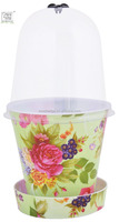 13cm plastic flower pot with saucer and cloche
