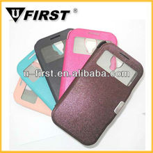 Hot!2013 Leather phone case with window for samsung S4,leather flip cover for samsung galaxy i9500