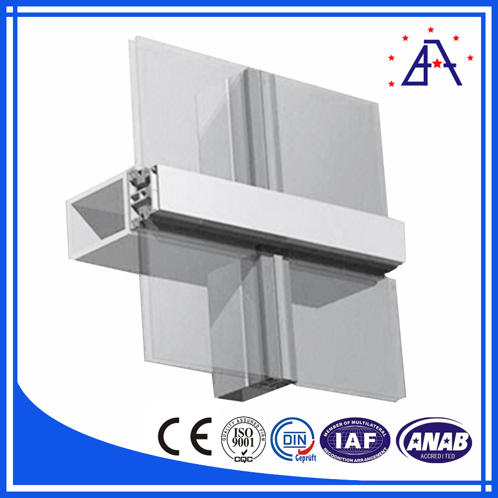New Design ! Aluminum Extrusion Curtain Wall Profile China Manufacturer