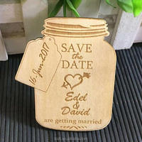 custom laser engraved wood wedding save the date cards