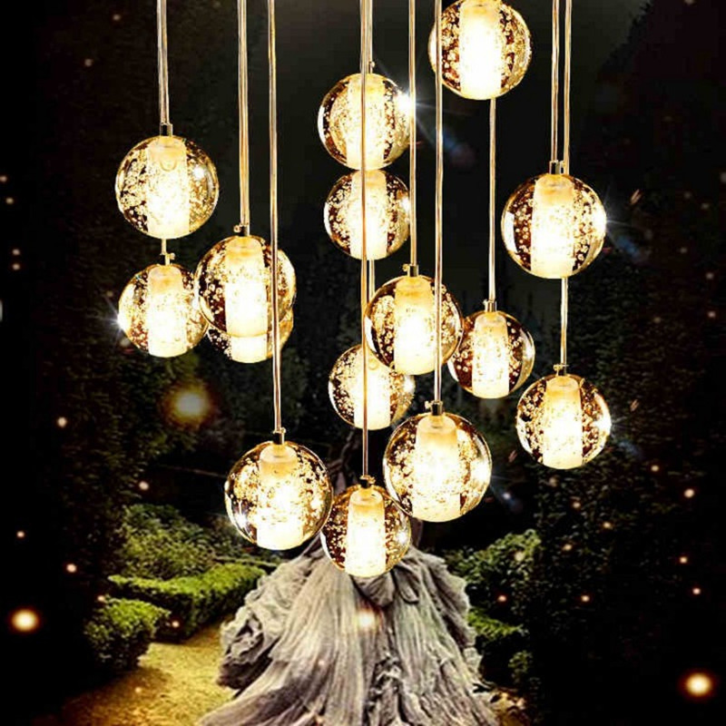 Modern glass bubble pendant lamp LED crystal ball chandelier lighting for stair