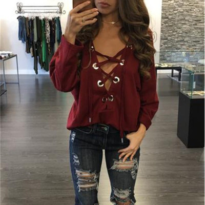 2017 Cheap China Wholesale Clothing Casual Loose Autumn Winter Woman Cotton Lady Top Sexy Eyelet Lace Up T Shirt Long Sleeves