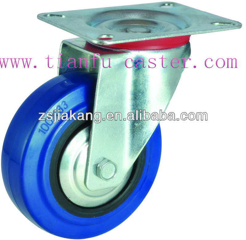 Industrial elastic blue rubber caster wheel, medium duty caster for trolley