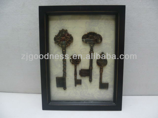 Good Sale 12-1/2''H Wooden Frame Plaque Key/Keyhole Display Box