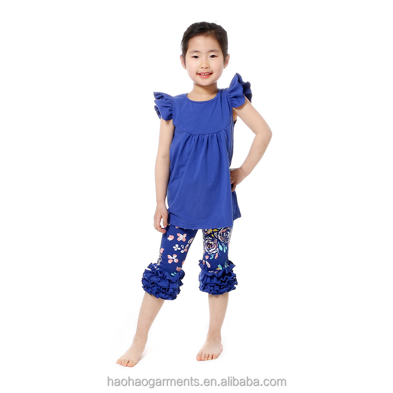 Source 2017 kaiya design baby children clothing sets ruffle pants kids boutique clothing tunic sets for toddler girls