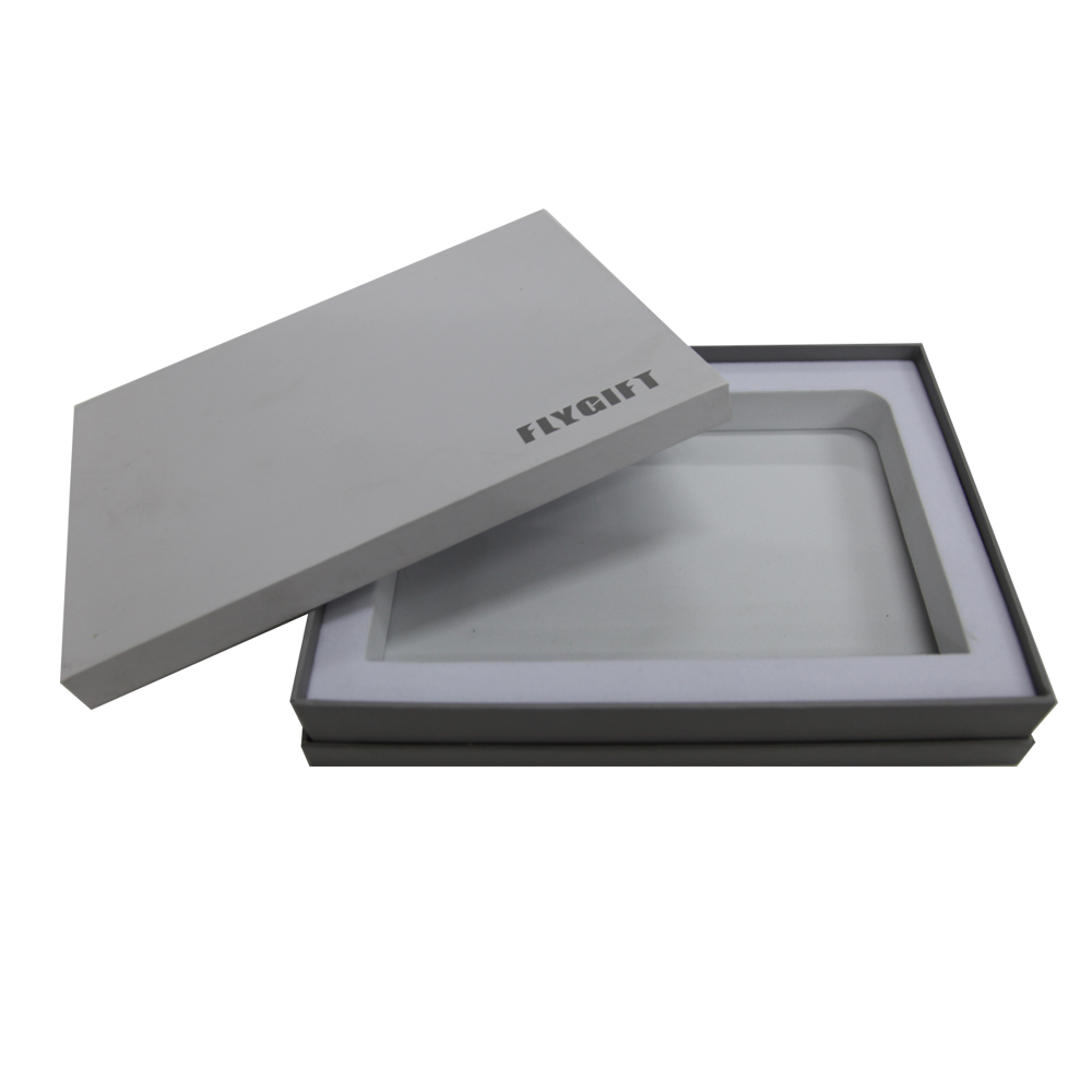 Custom white packaging boxes with PVC inner tray for electronic packaging