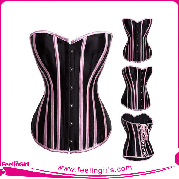 Wholesale Satin and Lace Vertical Stripes Weight Loss Corset