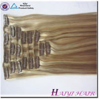 Direct hair factory double drawn remy wholesale price white clip in hair extension