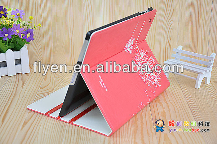 2014 minion case for ipad 2 3 4 Dandelion grain PU folding leather case for ipad 4
