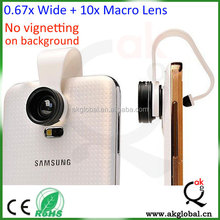 No Vignetting 0.67X Wide Angle Lens plus 10x Macro Lens Mobile Phone Camera Lens for iPhone 6 6 plus samsung galaxy s4 s5 s6